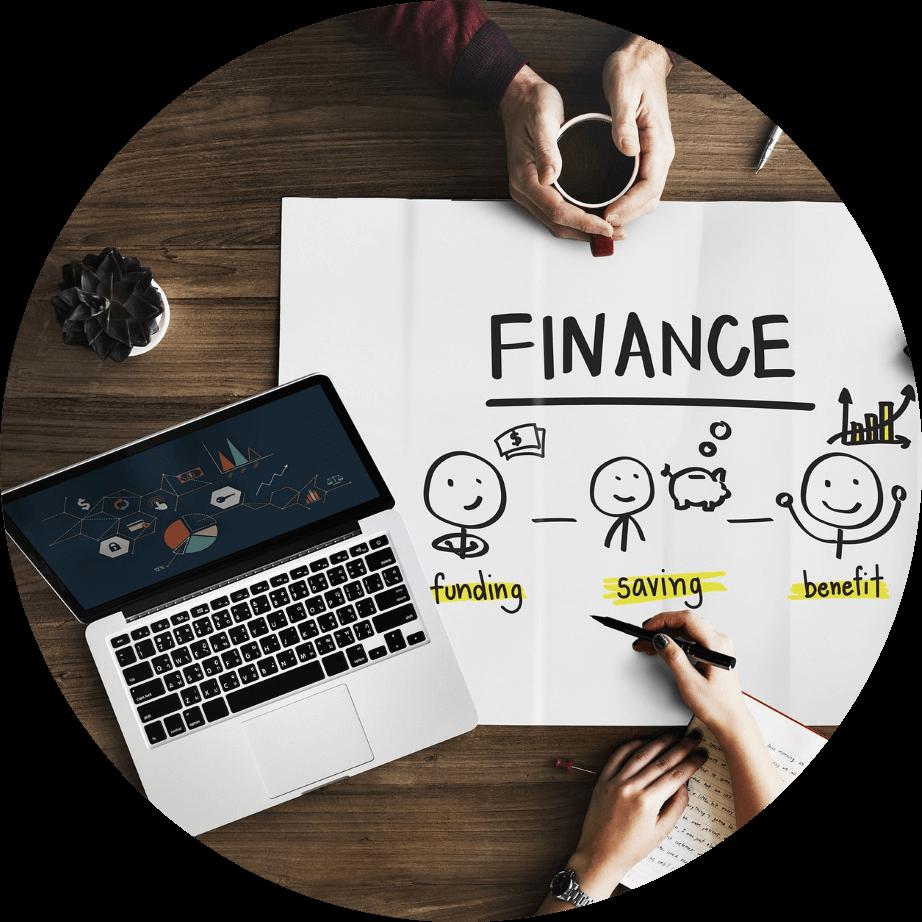 Finanz--Qualifikation-Laptop-Skizze