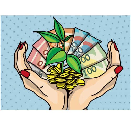 nachhaltige Hände mit Geld und Pflanze