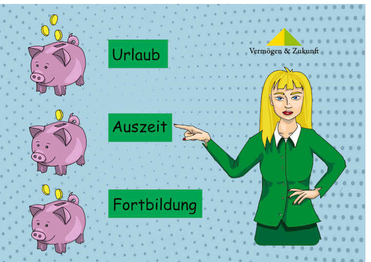 Finanzberaterin Konni zeigt auf drei Schwarschweine für Urlaub, Auszeit und Fortbildung