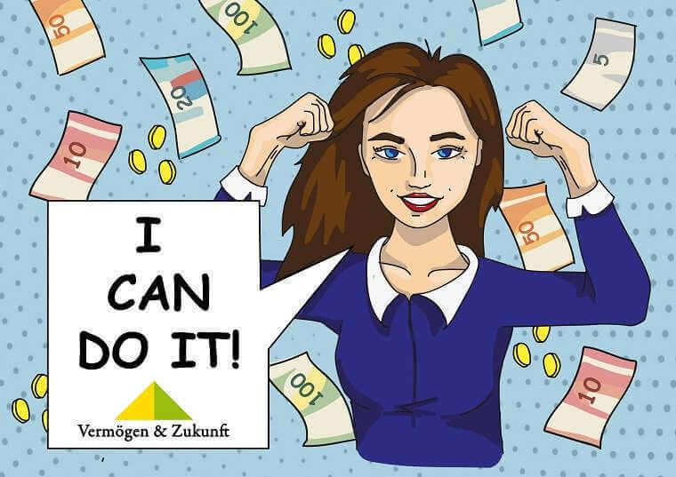 finanziell erfolgreiche jubelnde junge Frau