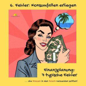 Frau mit Geldscheinbündel und Palmeninsel in Gedanken