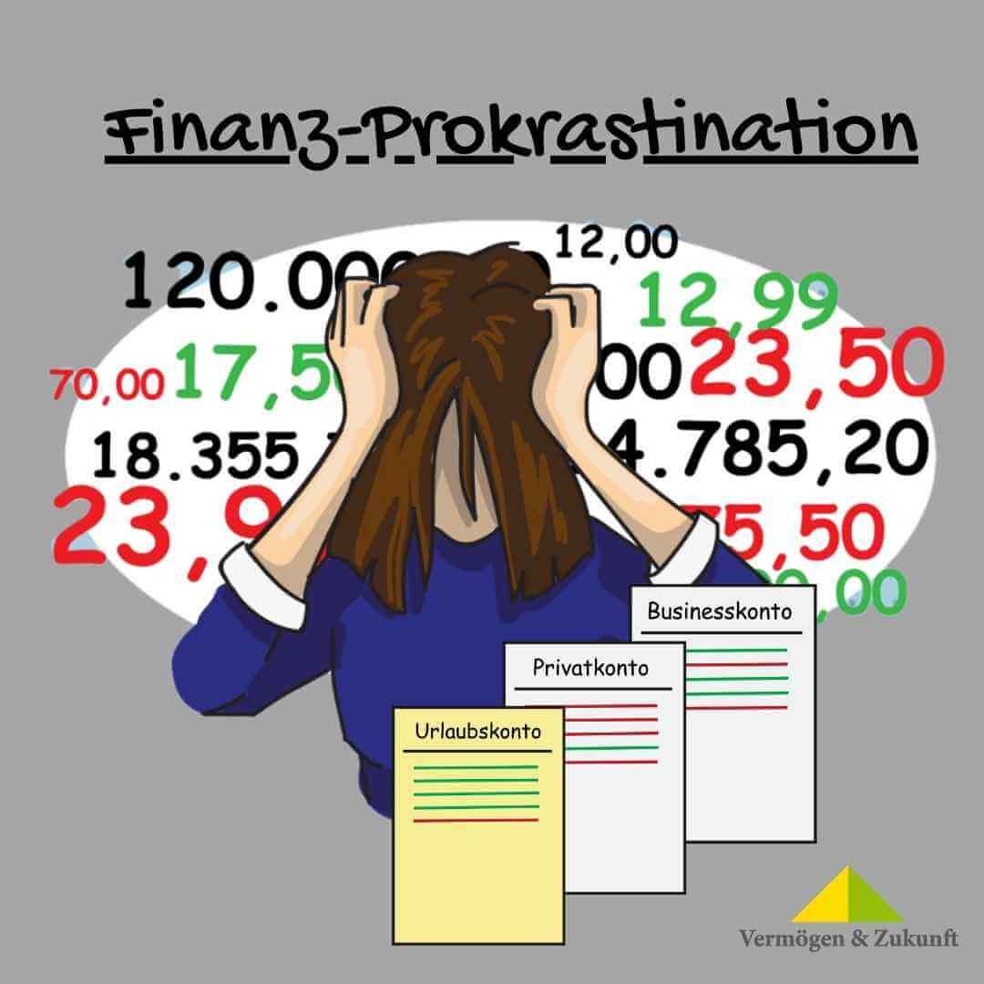Finanz-Prokrastination: Zahlen-Wirrwarr und gesenkter Kopf
